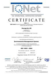 Environmental management certificate: ISO 14001:2004 - Hansgrohe