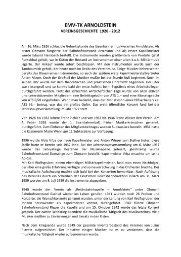 emv-tk arnoldstein - eisenbahner musikverein - trachtenkapelle ...