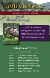 GMHA Derby Day August 16, 2013 Schedule of Events