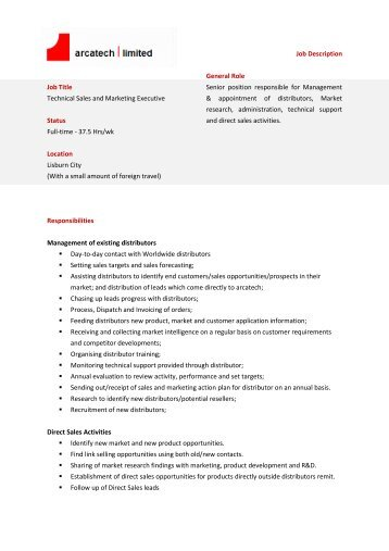 Job Description Sales Support Executive Internship