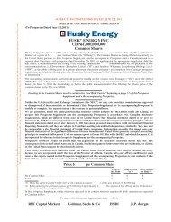PRELIMINARY PROSPECTUS SUPPLEMENT - Husky Energy