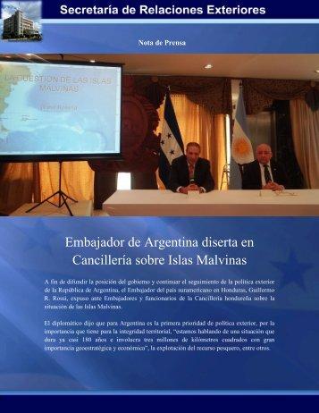 Embajador de Argentina diserta en Cancillería sobre Islas Malvinas