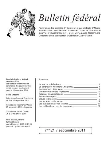 Bulletin fédéral - Fédération des Sociétés d'Histoire et d'Archéologie ...