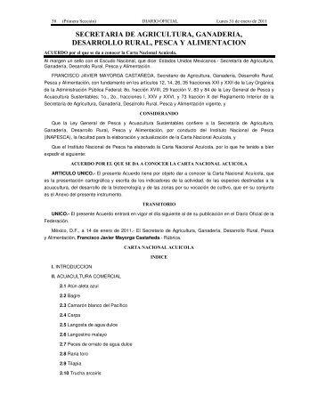 Carta Nacional Acuícola - Inapesca
