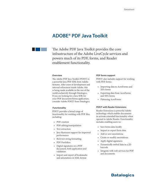 ADOBE® PDF Java Toolkit - Datalogics