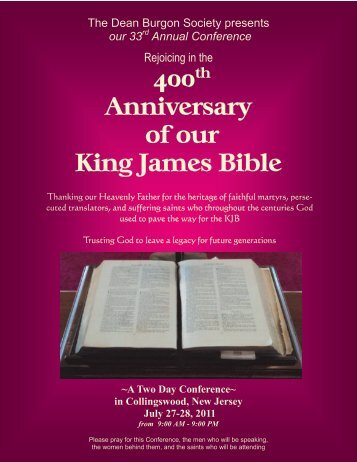 400 Anniversary of our King James Bible 1611-2011 - The Bible For ...