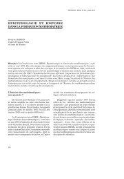 Epistémologie et histoire dans la formation mathématique