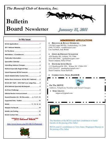 Bulletin Board Newsletter - the Basenji Club of America