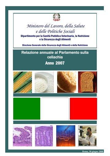Relazione annuale al Parlamento sulla celiachia - Anno 2007
