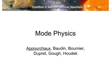 Mode physics (excitation and lifetime)