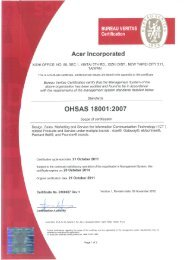 OHSAS 18001 Certification - Acer Group