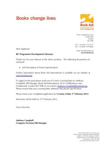 Programme development librarian - job pack - Book Aid International