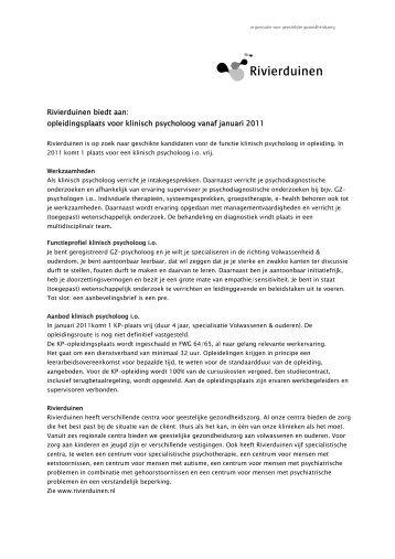 opleidingsplaats voor klinisch psycholoog vanaf ... - RINO Groep