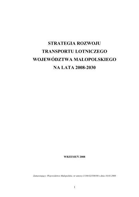 Strategia rozwoju transportu lotniczego - Województwo Małopolskie