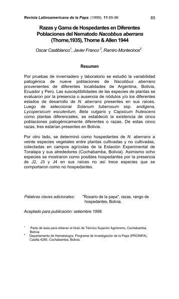 Razas y Gama de Hospedantes en Diferentes Poblaciones del ...