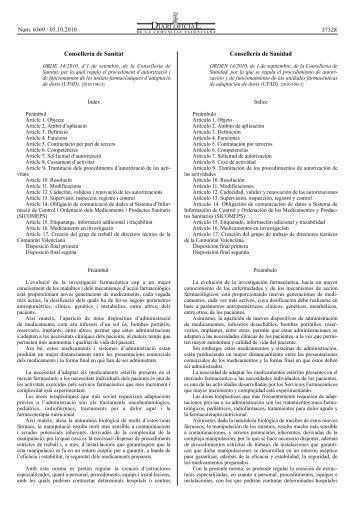 ORDE 14/2010, d'1 de setembre, de la Conselleria de Sanitat, per la ...