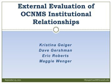 External Evaluation of OCNMS Institutional Relationships - NOAA