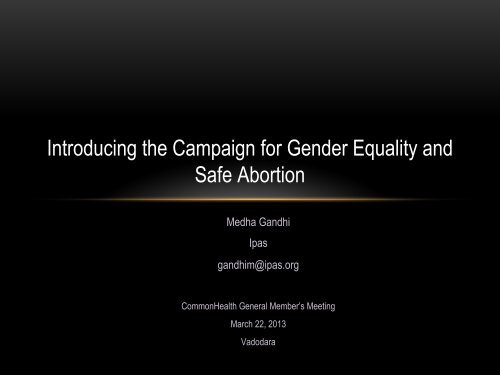 Introducing the Campaign for Gender Equality and ... - CommonHealth