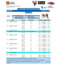 CALENDRIER DES RENCONTRES HOCKEY Catégorie D2 ... - Peps