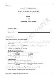 Sample Test Paper - Aga Khan University