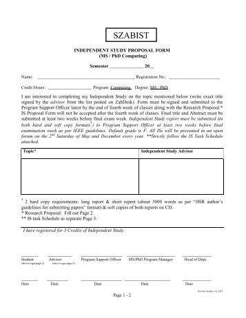 IS Proposal Form - Computing - SZABIST