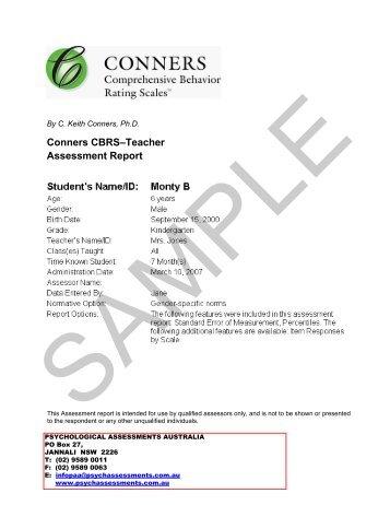 Conners 3–Teacher Assessment Report - Psychological ...