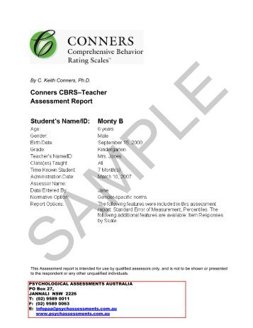 Conners CBRS–Self-Report Assessment Report - Psychological ...