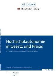 Hochschulautonomie in Gesetz und Praxis - Stifterverband für die ...