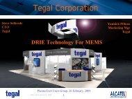 DRIE Technology for MEMS, PEUG 2-09 - Avsusergroups.org