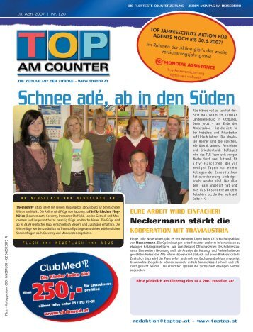 , Schnee adé, ab in den Süden - top am counter