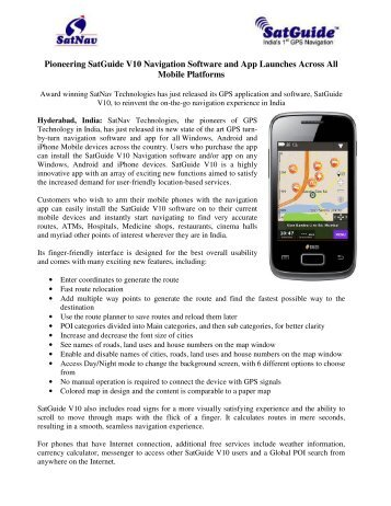 Pioneering SatGuide V10 Navigation Software and App Launches ...