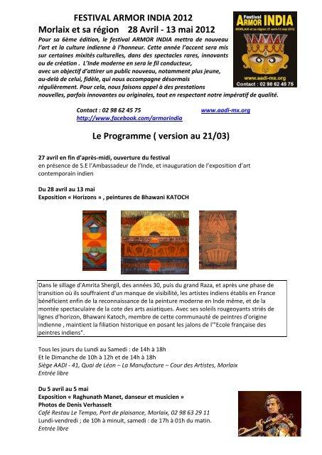 Programme détaillé de la manifestation - Cités Unies France