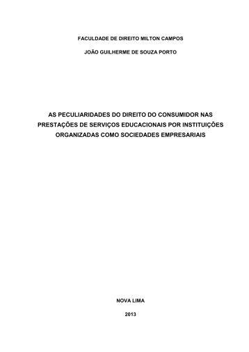 as peculiaridades do direito do consumidor nas ... - Milton Campos