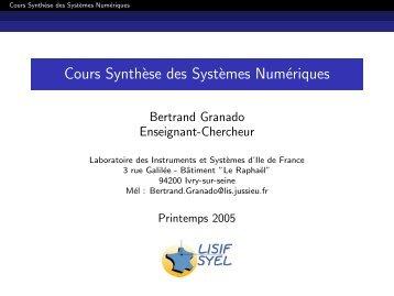Cours Synth`ese des Syst`emes Numériques