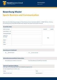 Bewerbung Master Sports Business and Communication