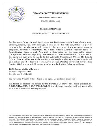 FCPS Nondiscrimination - Fluvanna County Public Schools