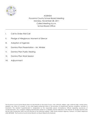 11.28.2011 Called Meeting - Fluvanna County Public Schools