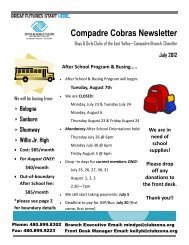 Compadre Cobras Newsletter - Boys & Girls Clubs of the East Valley