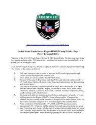 2013 Regional Camp Player Information - US Youth Soccer Region III