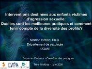 Interventions destinées aux enfants victimes d'agression sexuelle ...