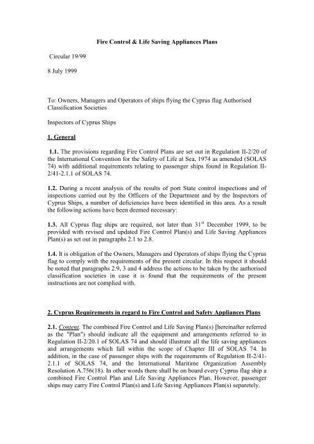 Fire Control & Life Saving Appliances Plans Circular 19/99 8