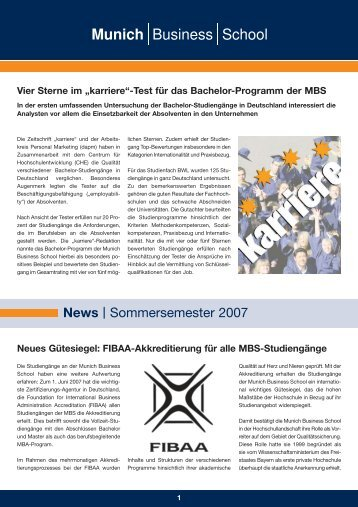News | Sommersemester 2007 - Munich Business School