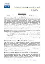 COMMITTEE OF EUROPEAN SECURITIES REGULATORS PRESS ...