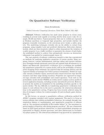 On Quantitative Software Verification - Quantitative Analysis and ...