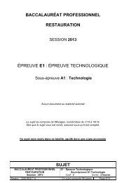 Sujet de technologie BAC PRO