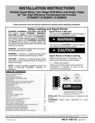 INSTALLATION INSTRUCTIONS ! WARNING CAUTION