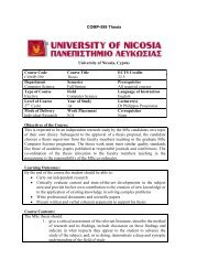 COMP-599 Thesis University of Nicosia, Cyprus Course Code ...