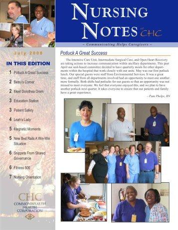 Nursing Notes July 2008 - The Medical Center