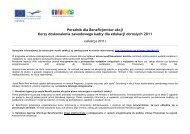 Informacja dla Beneficjentów akcji Kursy doskonalenia ... - Grundtvig