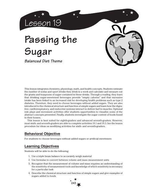 Lesson 19: Passing the Sugar - Planet Health